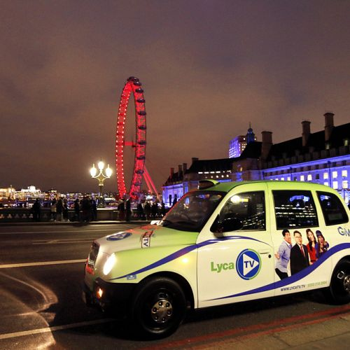 LYCA TV blackcab taxi campaign