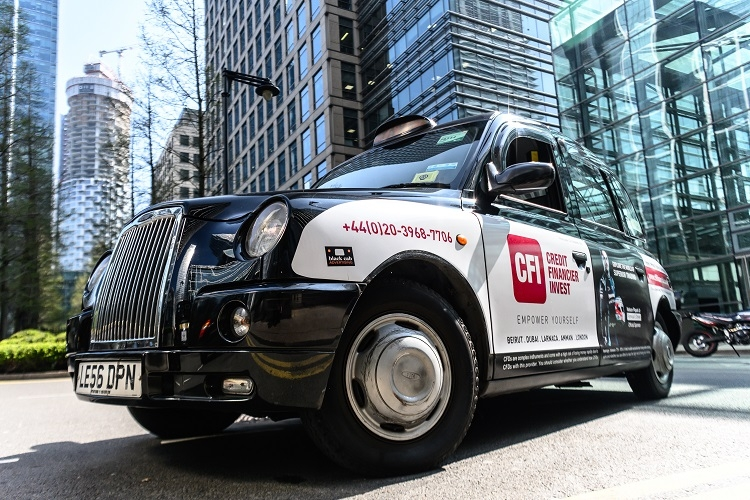 New London taxi campaign for Credit Financier Invest
